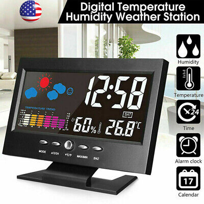 2020 Led Digital Alarm Clock Snooze Calendar Thermometer Weather Color Display