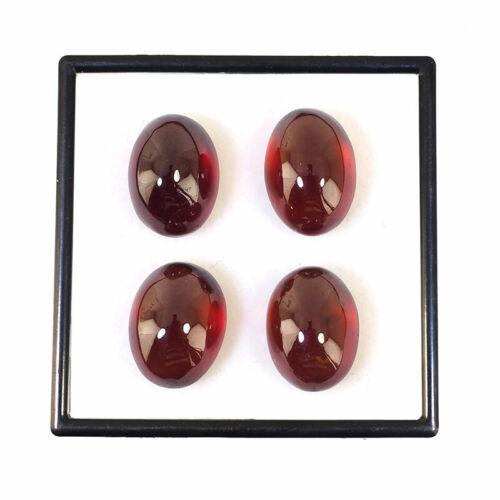 4 Pcs Natural Hessonite Garnet 16mm-16.66mm Oval Top Quality Cabochon Gemstones