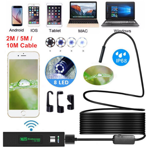 1200P Rigid Wifi Endoscope Camera HD 8mm Borescope for Android IPhone IP68 IOS Consumer Electronics