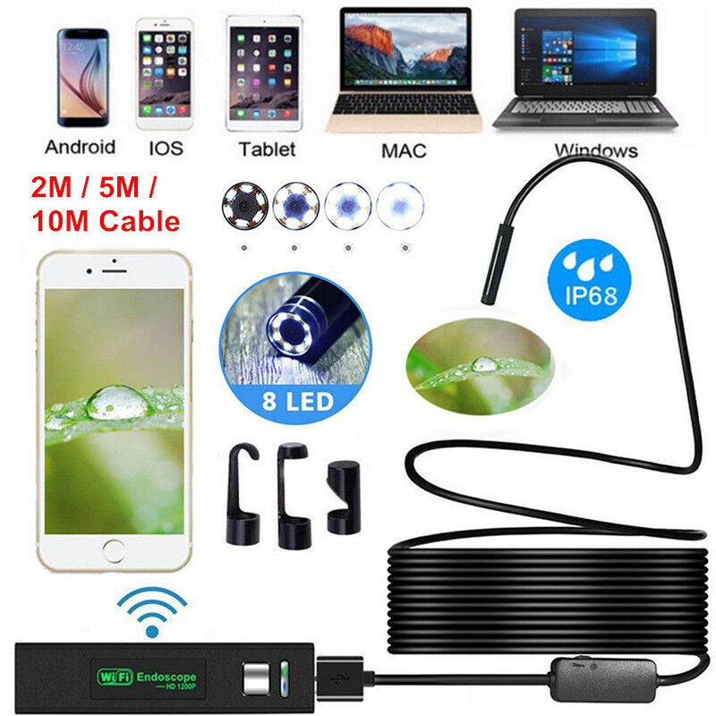 1200P Rigid Wifi Endoscope Camera HD 8mm Borescope for Android IPhone IP68 IOS