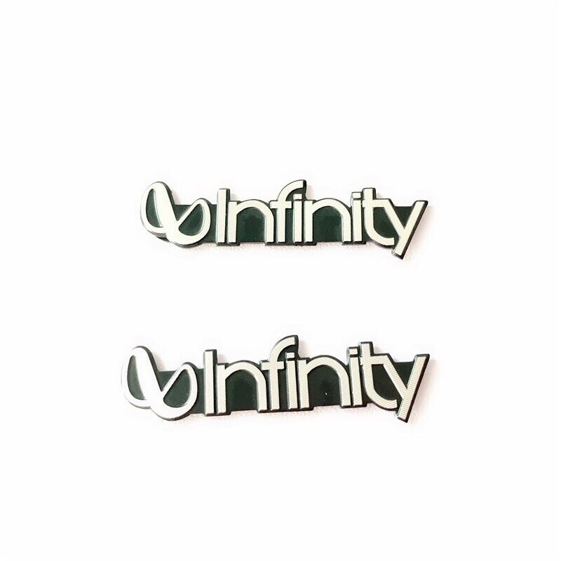 (2 Pieces) Infinity Badge Emblem Metal Logo Sticker Decal Speaker Grill NEW