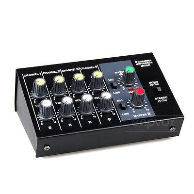 Mini Stereo 4 Mono 8 Channels Line Microphone Input Output Audio Mixer Console Mono Mini Mixer