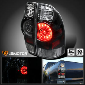 For 2005 2017 Toyota Tacoma Black Led Tail Lights Rear Brake Stop Lamps Embly