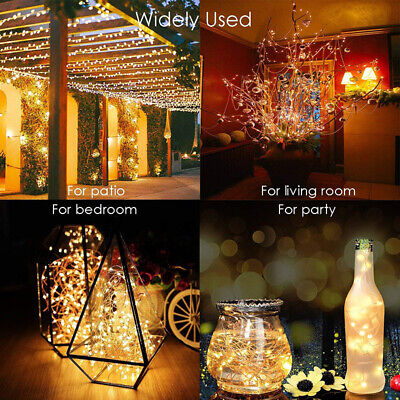 Solar Power LED String Lights 50 100 200 Copper Wire Waterproof Outdoor Fairy ()