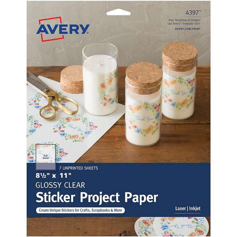 """Full-Sheet Sticker Project Paper 8.5""""X11"""" 7 Sheets Clear 072782043971"""