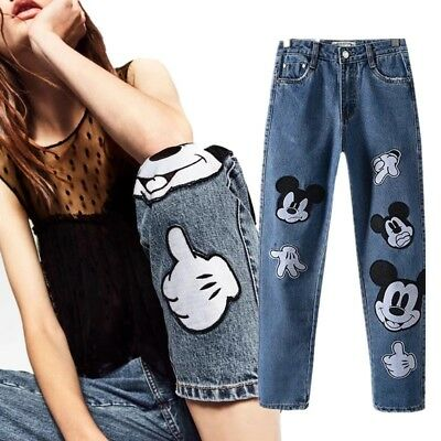 Vintage High Waist Womens Jeans Cute Mickey Mouse Embroidery Fashion Pants Blue