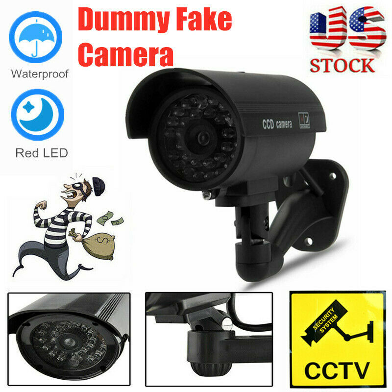Dummy Security Camera Fake LED Flashing Light Home Surveillance CCTV In/Outdoor