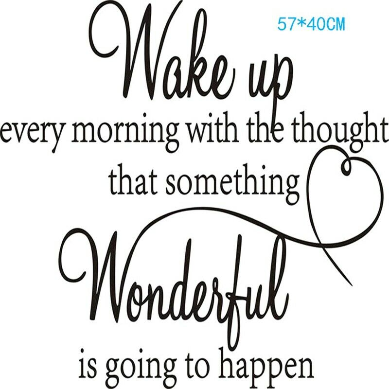 Wake Up To A Fresh Bedroom Style: Wake Up Wonderful Bedroom Quote Wall Stickers DIY Art Room