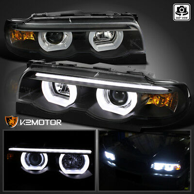 95-01 BMW E38 7-Series 740i 740i Black Dual Halo LED DRL Projector Headlights