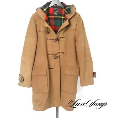 Vintage Gloverall Made in England Tan Horn Toggle Hooded Duffle Stadium Coat -