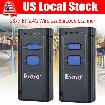 2pcs Mj-2877 Portable Wireless Bluetooth Barcode Laser Scanner For Apple Android