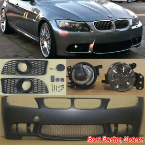 M Style Front Bumper + Glass Projector Fog Fit 09-11 BMW E90 E91 4dr 3-Series