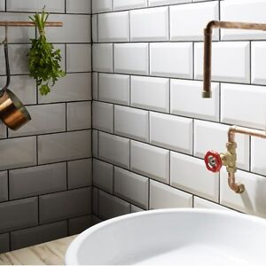 Gloss white metro bevelled edge ceramic wall tiles 10 x 20cm 1m² - 50 tiles