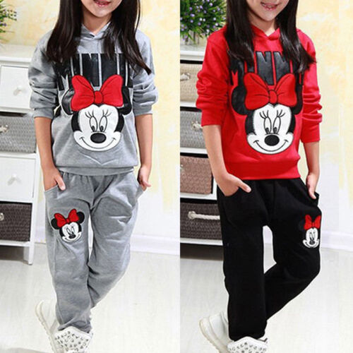 Kinder Mädchen Minnie Kapuze Pullover Hose Trainingsanzug Sportanzug 2tlg Sets