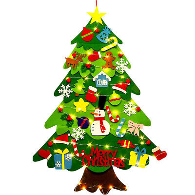 3FT DIY Felt Christmas Tree 32pcs Ornaments Wall Hanging for Kids New Year Party