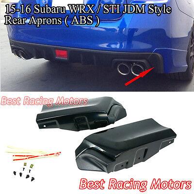 Fit 15-18 Impreza WRX STI 2pc Aero Style Rear Bumper Lip Cap Apron Spats Add On