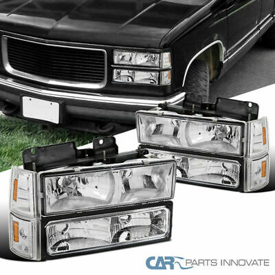 94-99 GMC C10 C/K 1500 2500 Sierra Yukon Clear Headlights+Bumper Corner Lamps 1995 Gmc K1500 Headlight