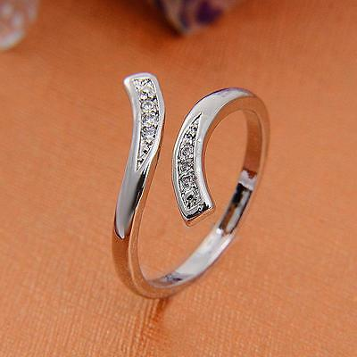 Women Silver plated Crystal Rhinestone Engagement Ring Wedding Jewelry Gift
