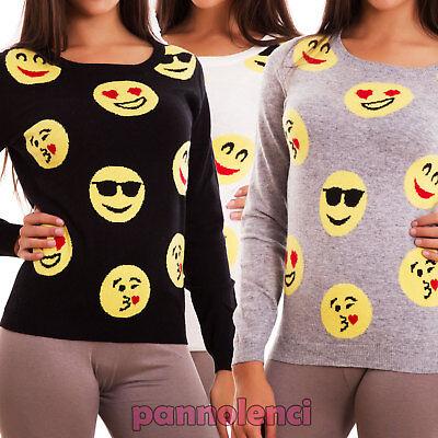 Pullover Frau Emoticons Smile Lange Ärmel Jersey Rundhalsausschnitt TR3653 - Jersey Lange Ärmel Pullover