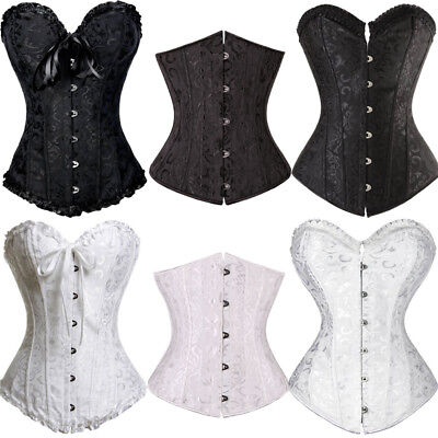 Weiße Korsetts (Frauen Bustier elegante Taille Training baskische Korsetts Top schwarz / weiß TF)