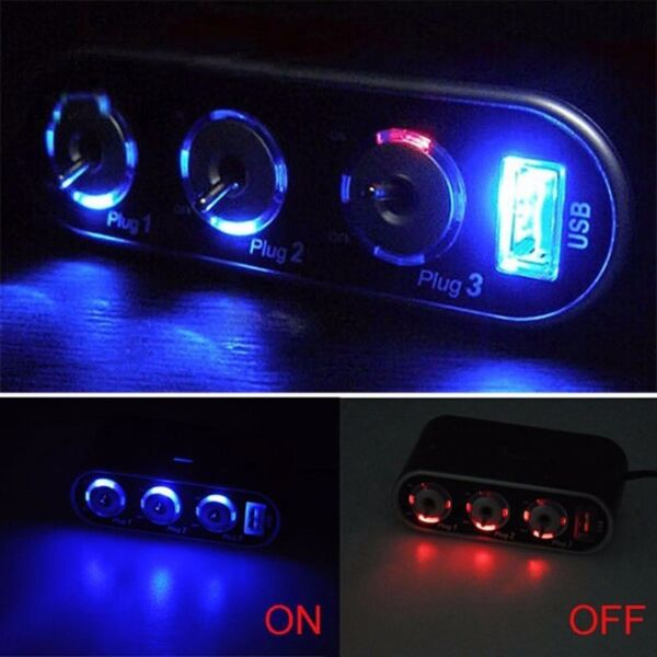 3 Way Car Cigarette Lighter Socket Splitter with USB and LED light control