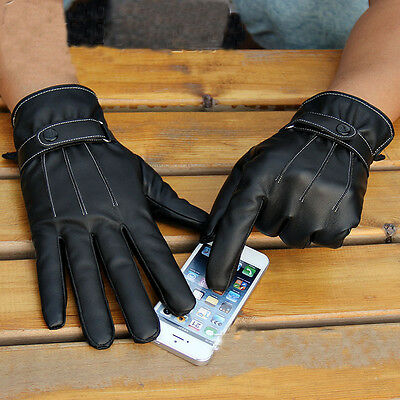 New Men Black Winter Leather Motorcycle Full Finger Touch Screen Warm Gloves Finger-touch Screen