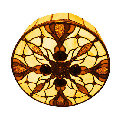 - Baroque Tiffany Style Stained Glass Round Flush Mount Ceiling Light Lamp Fixture