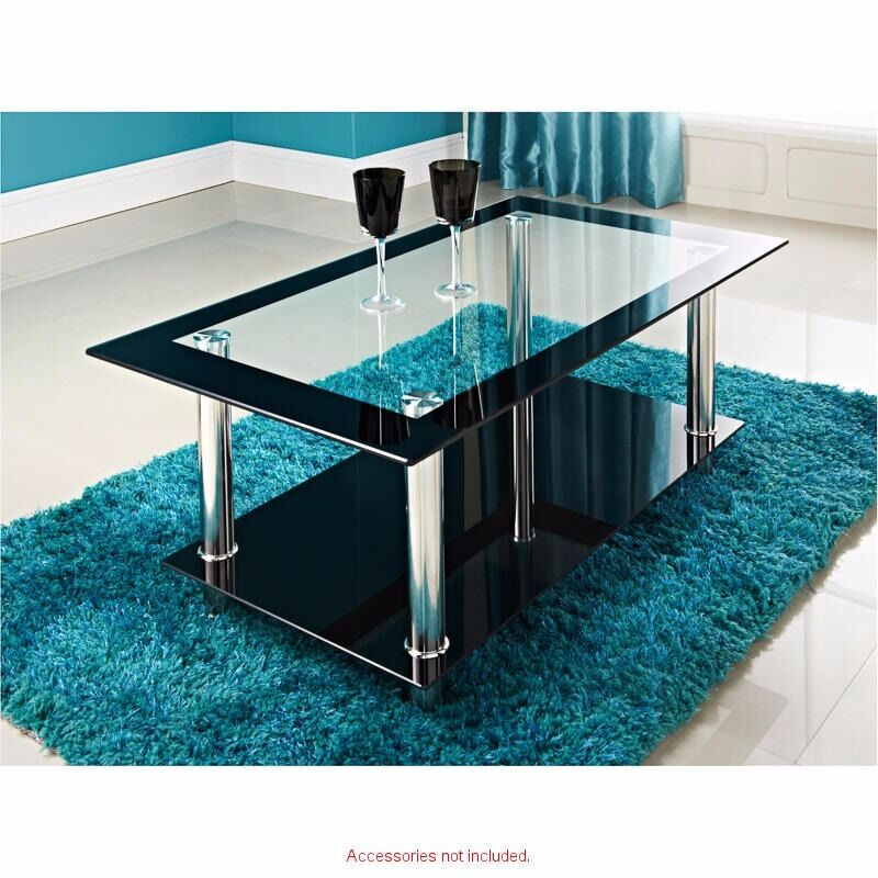 Glass and chrome two tier coffee table and matching television unit
