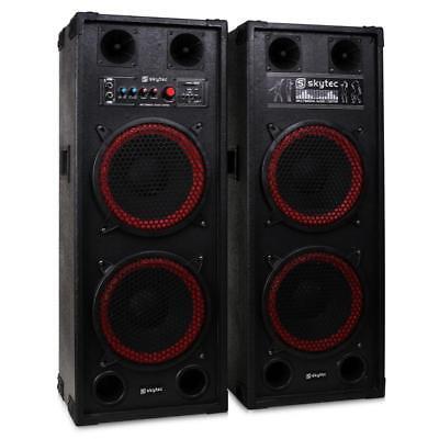 [B-WARE] AKTIV 2x25CM DJ PA SUBWOOFER LAUTSPRECHER SET PARTY BOXEN PAAR USB SD