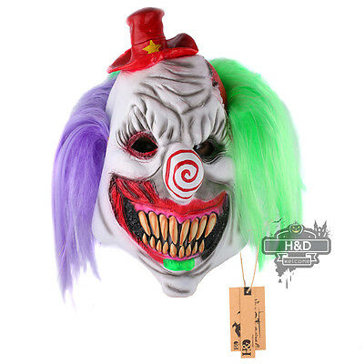 Latex Halloween Adult Overhead Scary Clown Mask Party Adult Creepy Dress Props