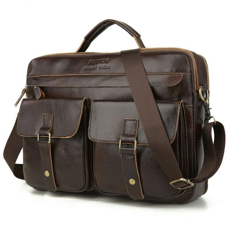 Men Business Casual Bag Genuine leather Briefcase Tote bags Brown large capacity Bags