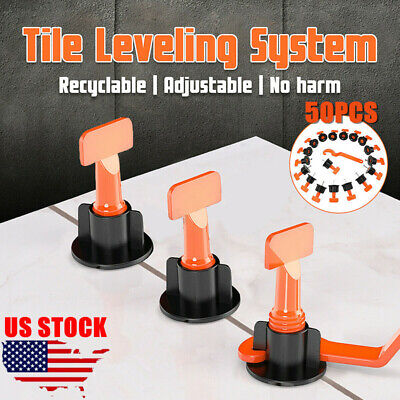 50x Flat Ceramic Floor Wall Construction Tools Reusable Tile Leveling System -