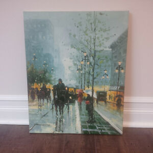 Original Oil Painting of a Horse & Carriage Street Scene