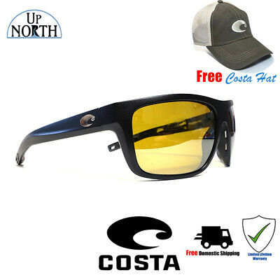 6bab1cd261 Costa Broadbill Sunglasses 580P Matte Black Frame Sunrise Silver Mirror Lens