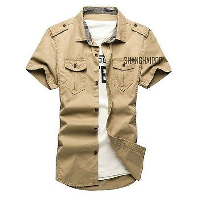 Men's Casual Short Sleeve Cargo T-shirts Military Dress Shirt Double Pockets New