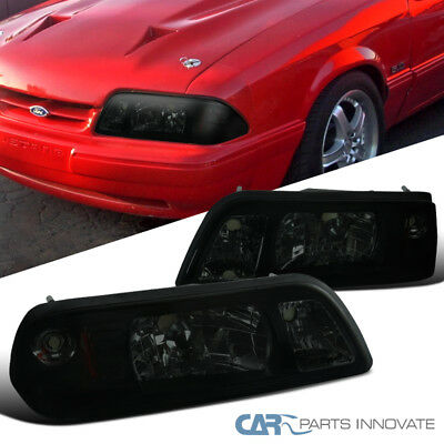 Ford 87-93 Mustang Replacement Smoke Euro 1-Piece Style Headlights Head - Euro 1 Piece Chrome Headlights