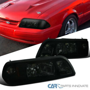 Ford 87-93 Mustang Replacement Smoke Euro 1-Piece Style Headlights Head Lamps