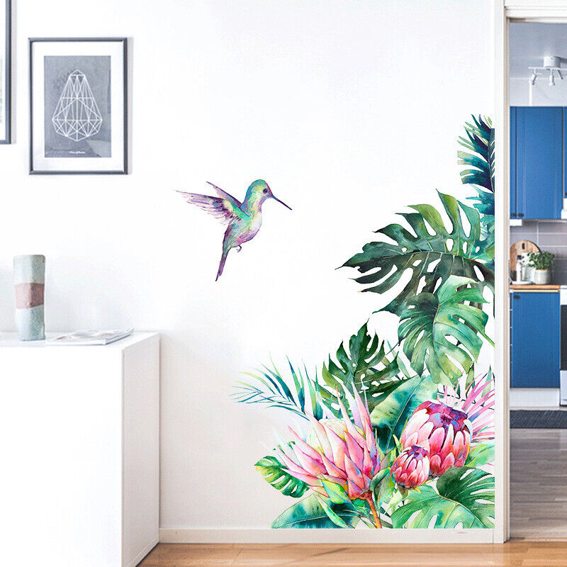 Home Decoration - Tropical Green Leaves Plant Wall Stickers Removable Decal Mural Home Decoration