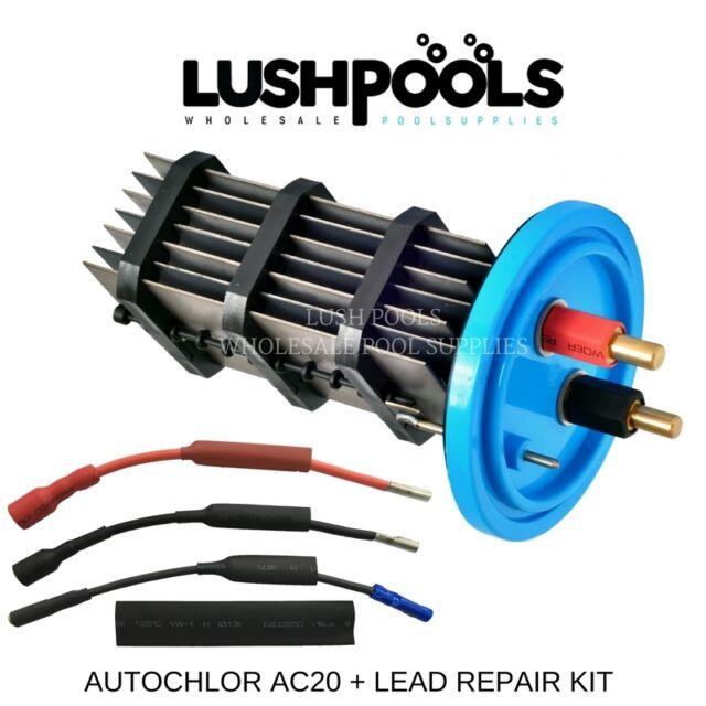AUTO CHLOR AC20 STD Autochlor 20AMP Chlorinator Cell + 1/2 Lead Kit K-Chlor