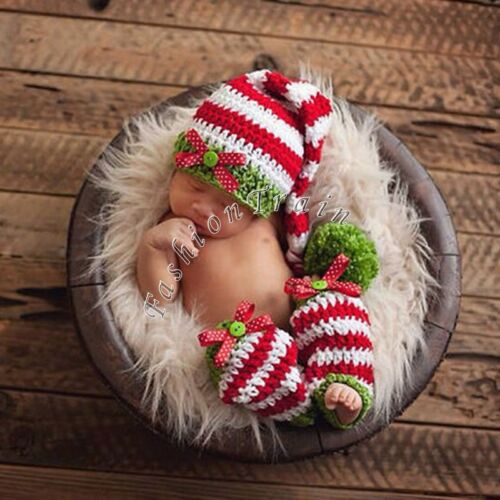... Baby Girl Boy Crochet Knit Beanie Costume Photo Prop Xmas Santa Outfit