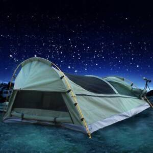 Derk Double Swag Camping Swags Canvas Tent Deluxe Aluminum Poles