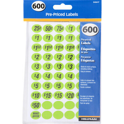 1 Pack Pre-priced Home Garage Sale Yard Price Stickers Sale Labels Bright Colors