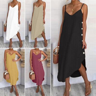 Womens Ladies Summer Beach Midi Dress Holiday Strappy Button Sun Dresses