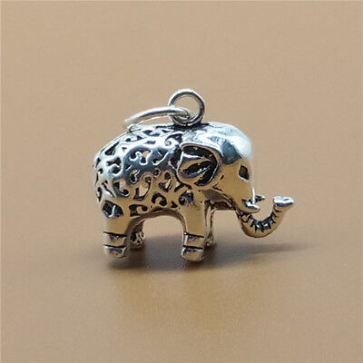 925 Sterling Silver Elephant Charm Animal Zoo Pendant for Bracelet Necklace