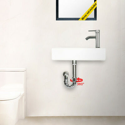 Wall Mount Rectangle Bathroom Ceramic Vessel Sink W/Faucet Chrome Combo Drain ()