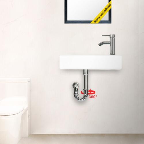Bathroom Ceramic Vessel Sink Small Wall Mount Rectangle Faucet Chrome Drain Set