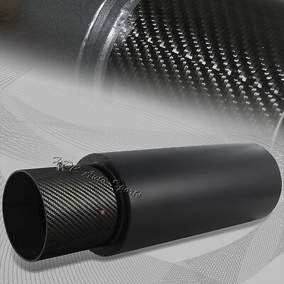 "4"" N1 Carbon Tip Black Stainless Weld-On Exhaust Muffler 2.5"" Inlet Universal 1"