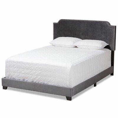 Baxton Studio Candace Velvet Nailhead Upholstered King Bed i