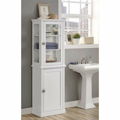 - Riverbay Furniture Tall Linen Cabinet in White