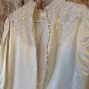 Ivory satin wedding dress, long sleeve, button up back